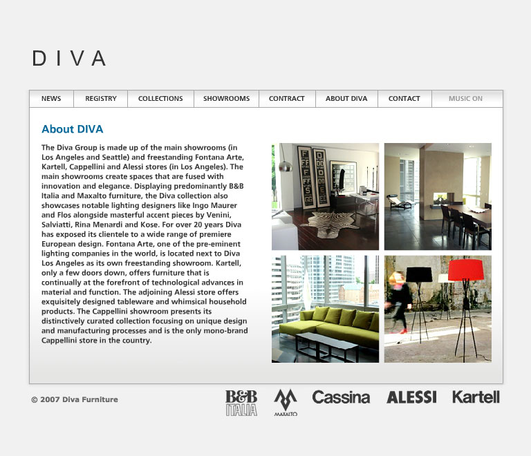 Diva Forniture's website in 2007 - About page