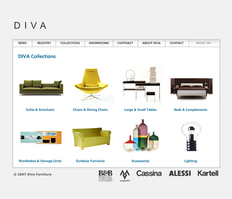 Diva Forniture's website in 2007 - Collections page