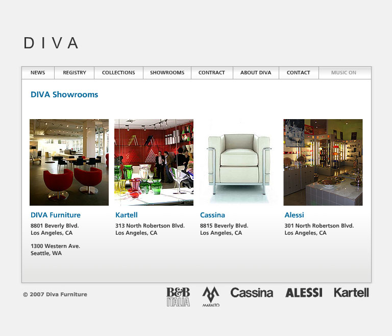 Diva Forniture's website in 2007 - Showrooms page